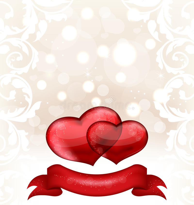 O dia de Valentim ou o convite do casamento com corações ilustração do vetor