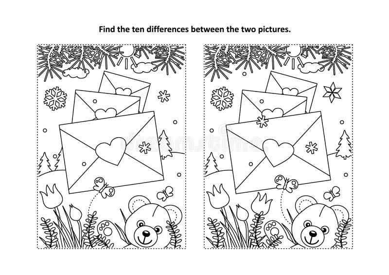 O dia de Valentim para encontrar o enigma visual das diferenças e a página colorindo ilustração royalty free
