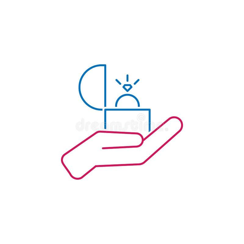 O dia de Valentim, uma oferta da união, ícone do anel Pode ser usado para a Web, logotipo, app móvel, UI, UX ilustração do vetor