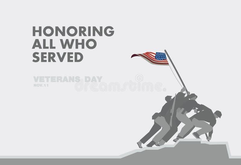 O dia de veteranos das honras, o monumento e o tema liso da bandeira projetam ilustração stock