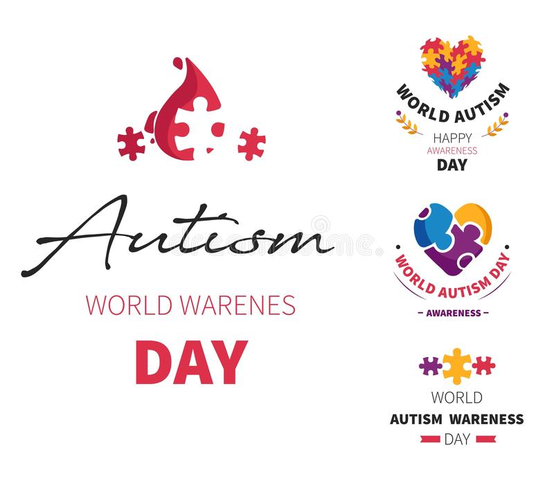 O dia do autismo do mundo isolou o problema socializando da inabilidade dos ícones ilustração do vetor