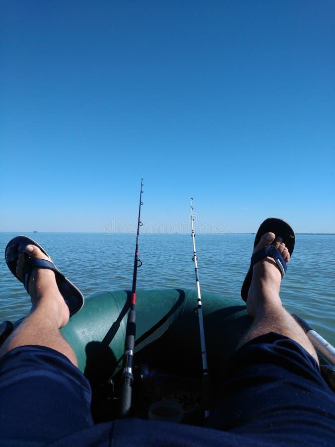 O dia do pescador feliz era um sucesso fotos de stock