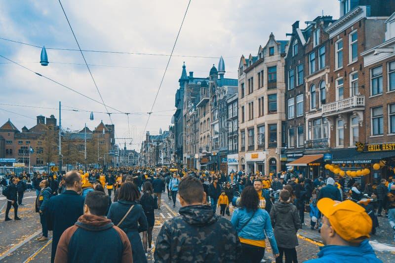 O dia do rei, Amsterdão, Holanda - 27/04/2018 fotografia de stock