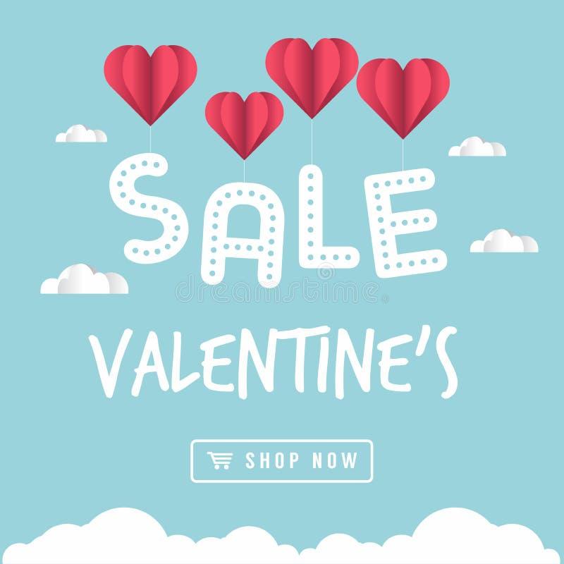 O dia do ` s do Valentim do balão do coração da bandeira da venda está guardando o texto da venda ilustração royalty free