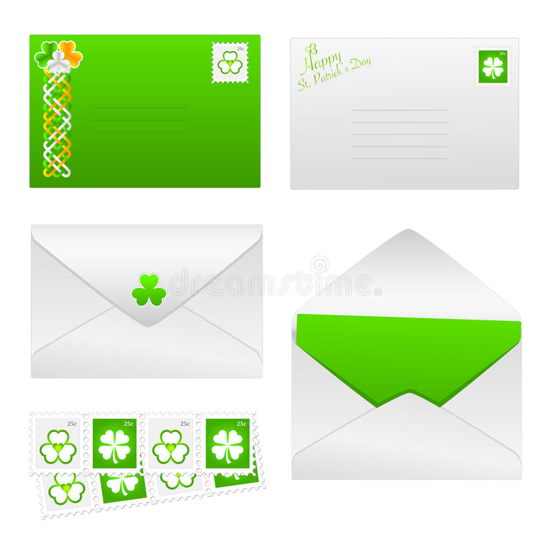 O dia do St. Patricks ajustou 1 - envelopes ilustração stock