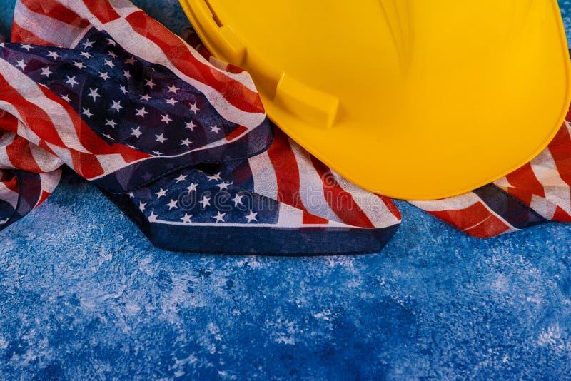 O Dia do Trabalhador é um feriado federal da opinião superior de América do Estados Unidos com espaço da cópia para o projeto do  foto de stock
