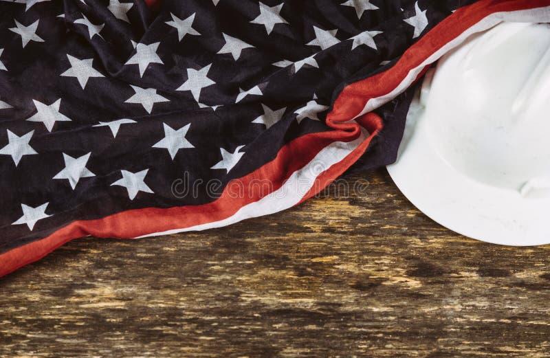 O Dia do Trabalhador é um feriado federal da opinião superior de América do Estados Unidos com espaço da cópia para o projeto do  fotografia de stock royalty free