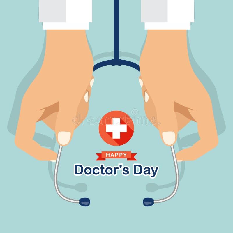 O dia feliz do ` s do doutor com o estetoscópio da posse do doutor do ` s da mão e o sinal de adição branco da cruz no vetor verm ilustração royalty free