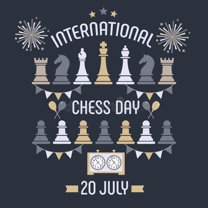 O dia internacional da xadrez é comemorado anualmente o 20 de julho, as partes de xadrez embarcam e cronometram postcard ilustração stock