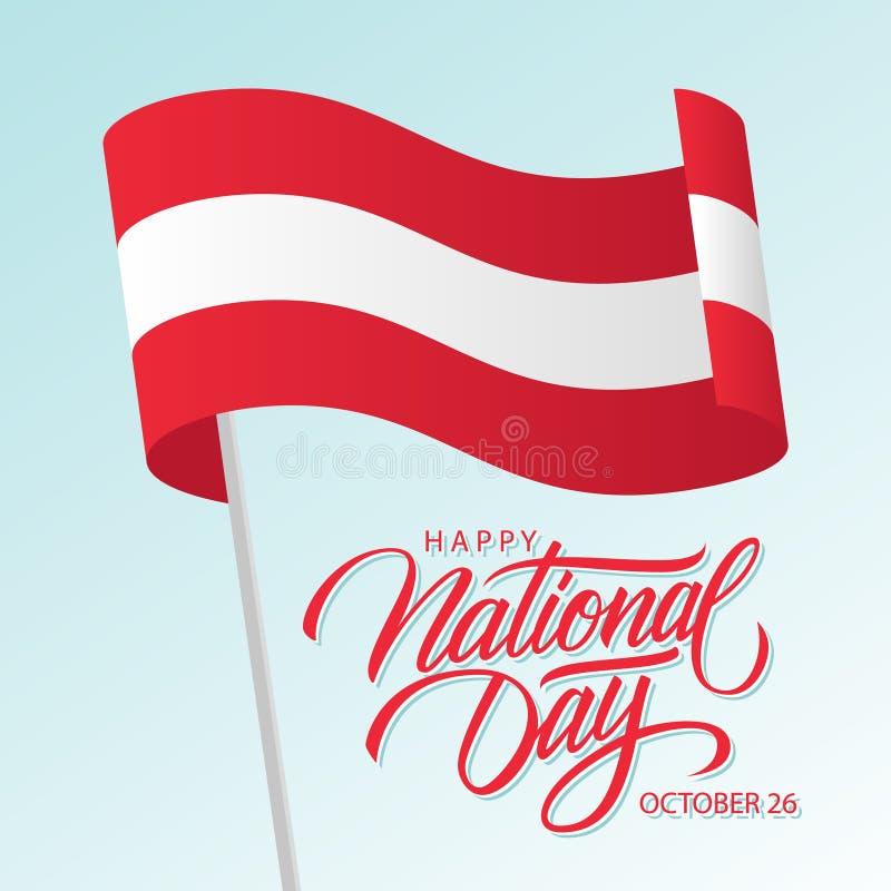 O dia nacional feliz de Áustria, o 26 de outubro cartão com ondulação do texto austríaco da rotulação da bandeira nacional e da m ilustração do vetor