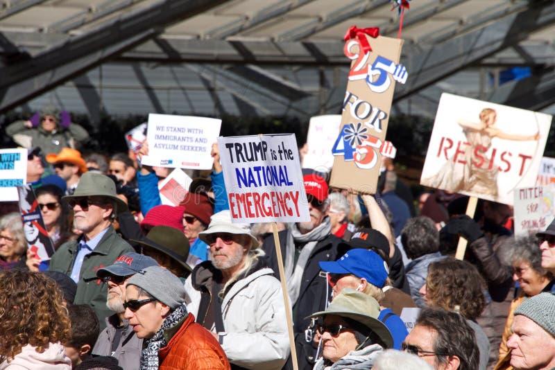 O Dia Protesto Reagrupamento San Francisco do presidente foto de stock royalty free