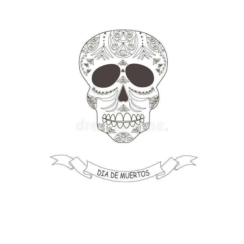 O dia tradicional mexicano do feriado da memória de morreu da garatuja dos parentes estilizada ilustração royalty free