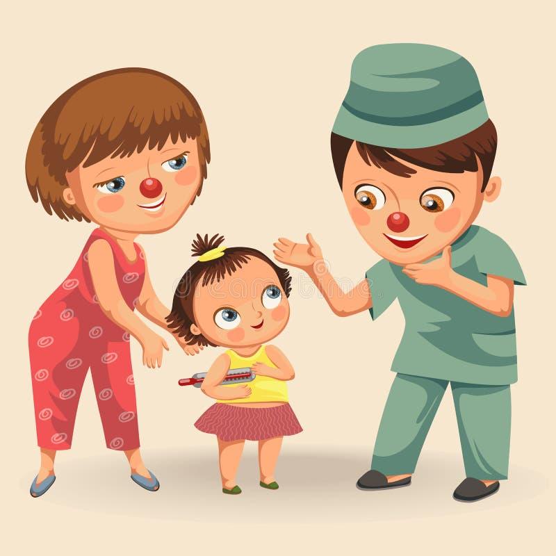 O dia vermelho feliz do nariz, mãe trouxe sua filha ao médico no hospital, no clownnose do divertimento da mamã e no paciente do  ilustração do vetor