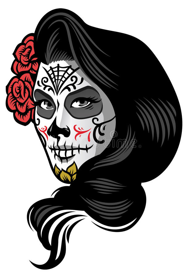 O dia vestindo da menina dos mortos compõe o estilo ilustração stock