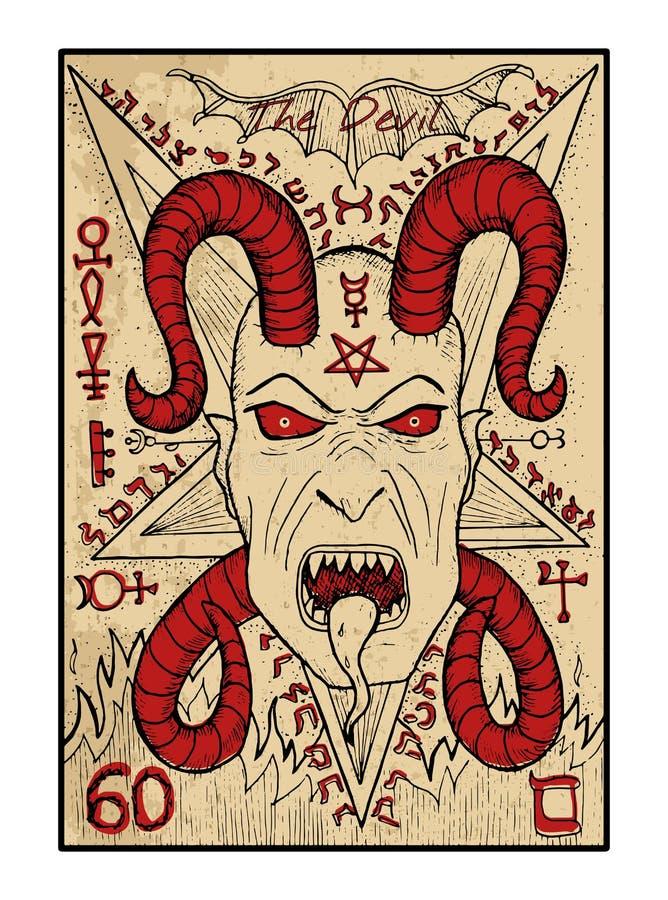 O diabo O cartão de tarô ilustração do vetor