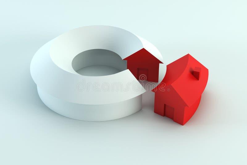 O diagrama conceptual 3d da casa rende ilustração do vetor