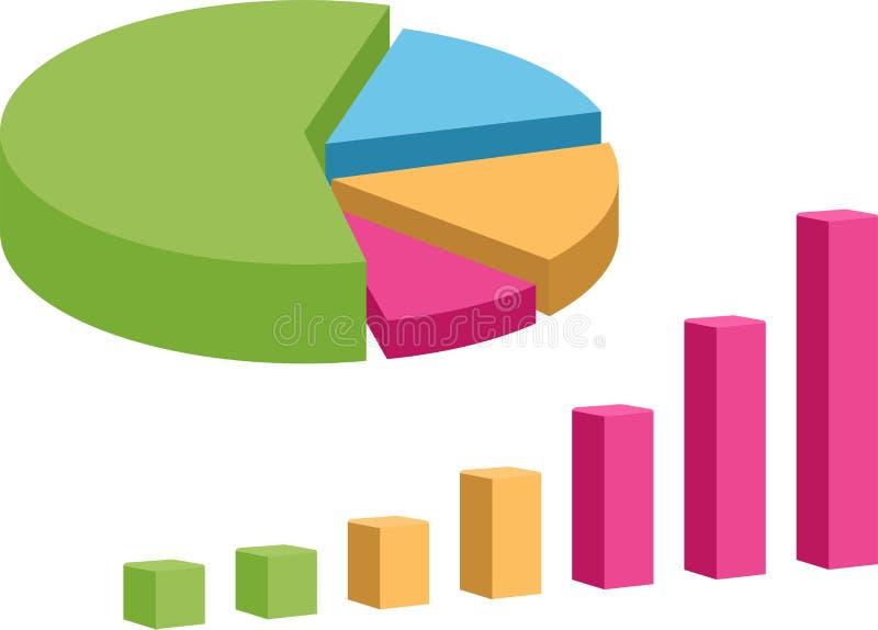 O diagrama de carta da torta dos elementos do mercado dos dados comerciais e o grupo do gráfico isolaram a ilustração do vetor ilustração stock