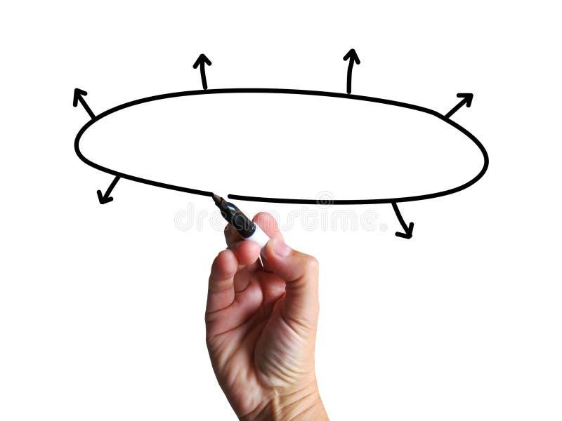 O diagrama vazio mostra o fluxograma das setas do plano de negócios de Copyspace ilustração stock