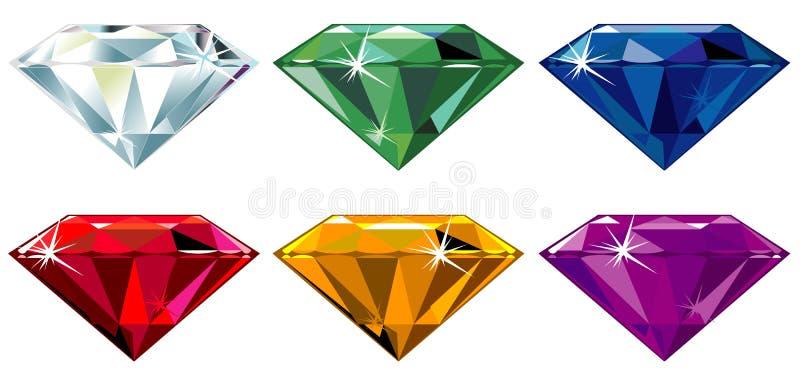 O diamante cortou pedras preciosas com faísca ilustração stock