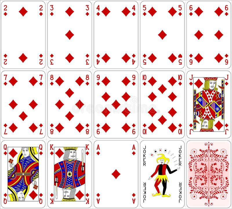 O diamante dos cartões do pôquer ajustou um projeto clássico de quatro cores ilustração do vetor