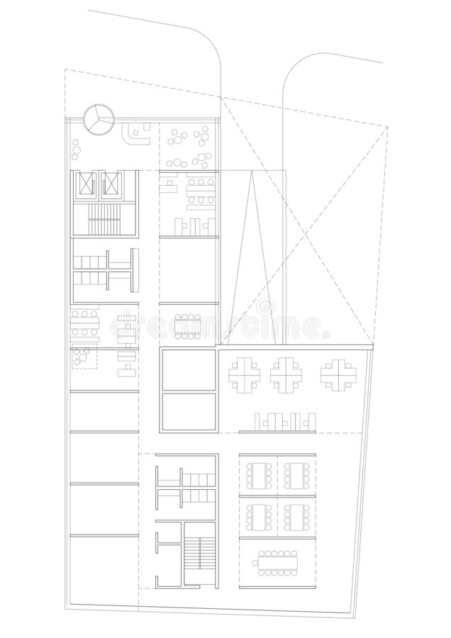 2.o dibujo - plan de piso del edificio comercial ilustración del vector