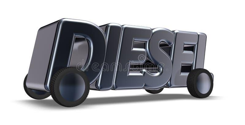 O diesel da palavra nas rodas ilustração royalty free