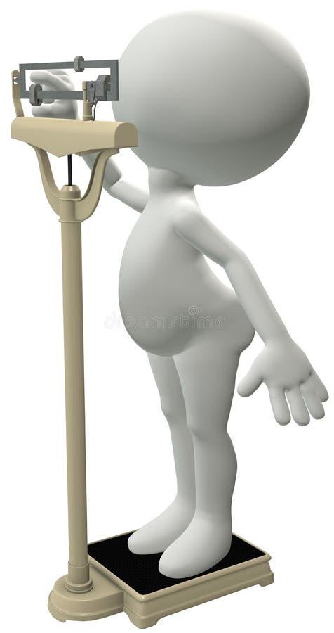 O dieter Chubby pesa a escala da dieta da perda de peso ilustração do vetor
