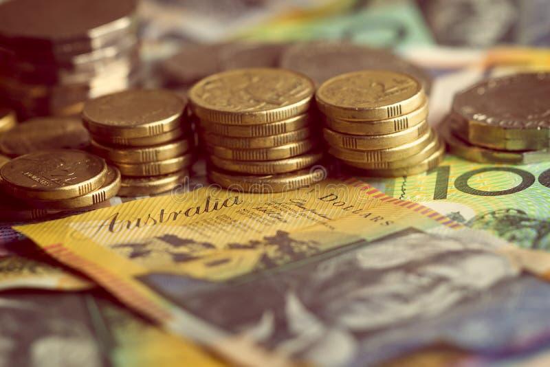 O dinheiro australiano nota o detalhe das moedas foto de stock