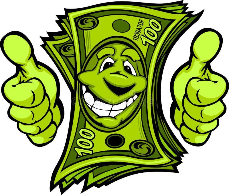 O dinheiro com as mãos que dão os polegares levanta desenhos animados do gesto ilustração do vetor