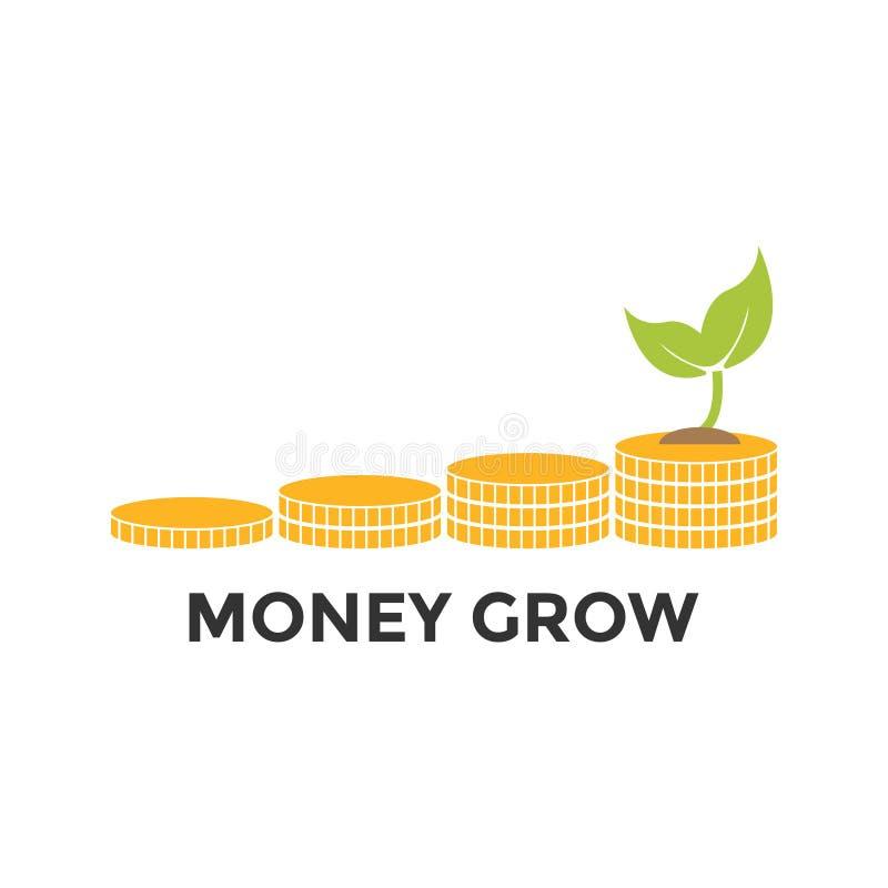 O dinheiro cresce o molde gráfico do projeto do ícone ilustração do vetor