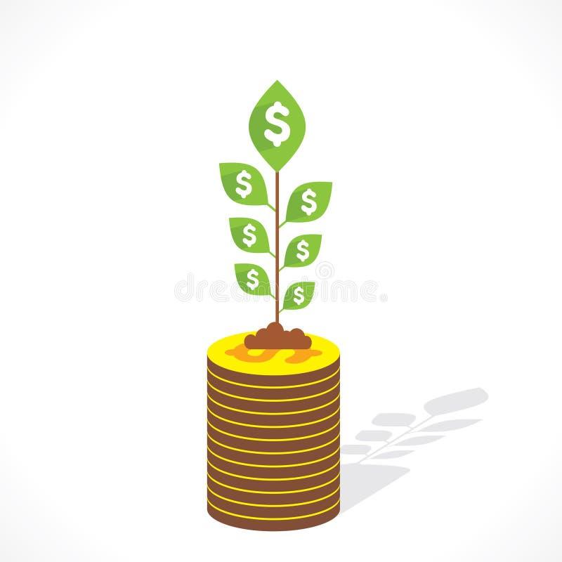 O dinheiro cresce o vetor do conceito ilustração royalty free