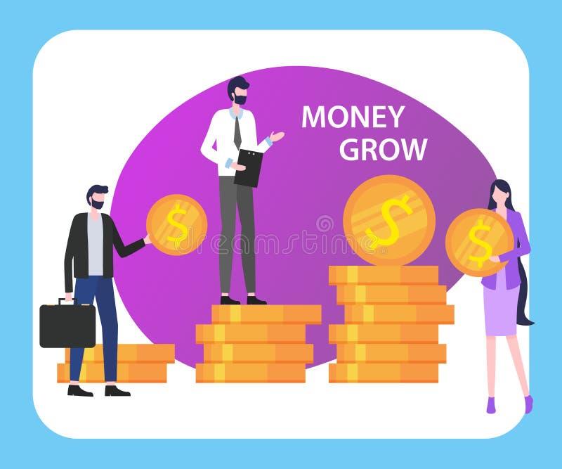 O dinheiro cresce povos equipa a mulher com a pilha da moeda do dólar ilustração do vetor