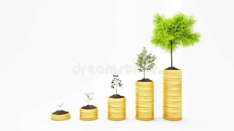 O dinheiro crescente, planta no conceito das moedas, da finança e do investimento isolados em 3d branco rende ilustração royalty free