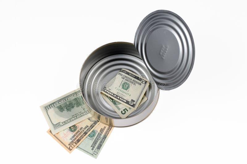 O dinheiro de papel pode dentro fotografia de stock