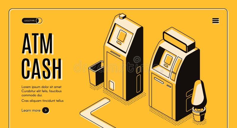 O dinheiro do ATM retira o Web site isométrico do vetor do serviço ilustração do vetor
