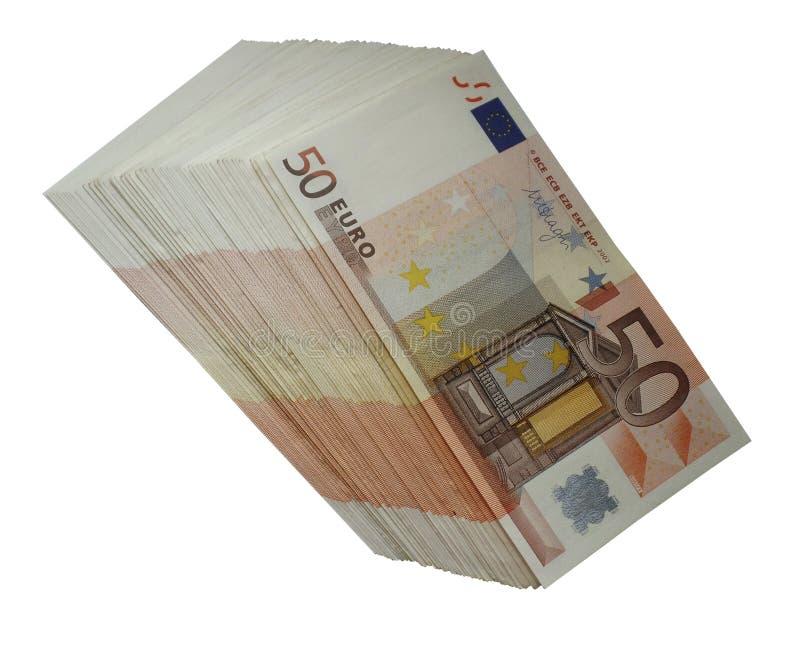 O dinheiro do euro cinqüênta isolou um bloco do png dos euro imagem de stock