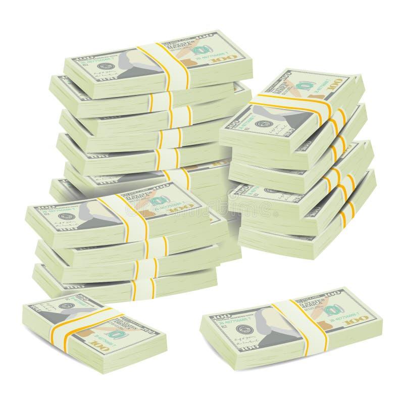 O dinheiro empilha o vetor Conceito realístico cédulas do dólar 3D Símbolo do dinheiro Dinheiro Bill Isolated Illustration ilustração royalty free