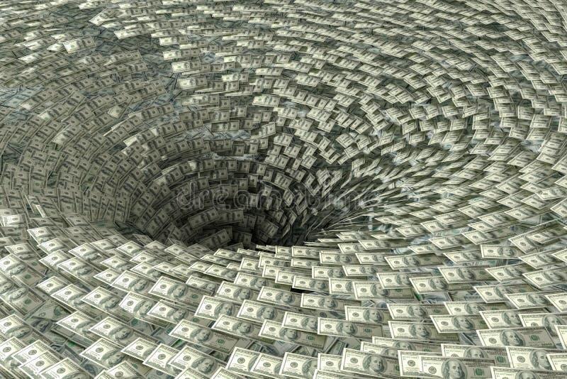 O dinheiro está caindo no buraco negro Crise da economia e conceito da falência ilustração royalty free