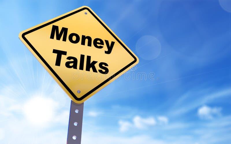 O dinheiro fala o sinal ilustração stock