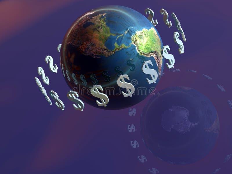 O dinheiro faz o mundo circundar, dólar. ilustração royalty free
