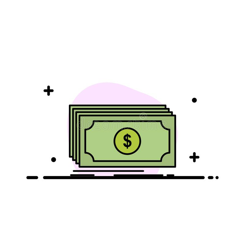 O dinheiro, fundo, transferência, linha lisa do negócio do dólar encheu o molde da bandeira do vetor do ícone ilustração do vetor