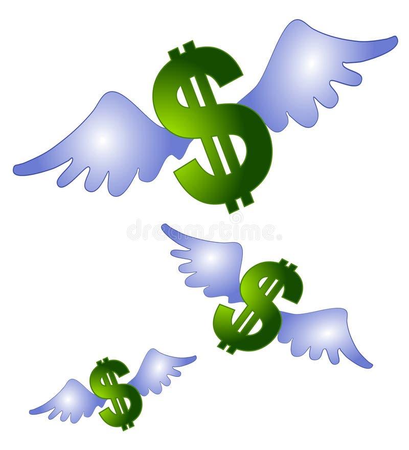 O dinheiro voa a arte de grampo do vôo ilustração royalty free