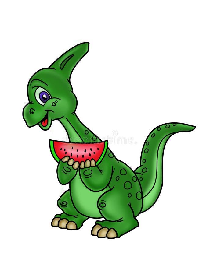 O dinossauro ama a melancia ilustração stock