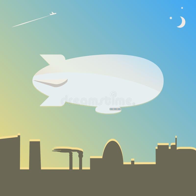 O dirigível voa sobre a cidade ilustração do vetor