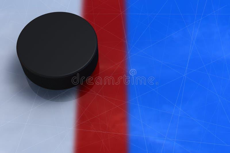O disco de hóquei cruzou uma linha vermelha fotografia de stock