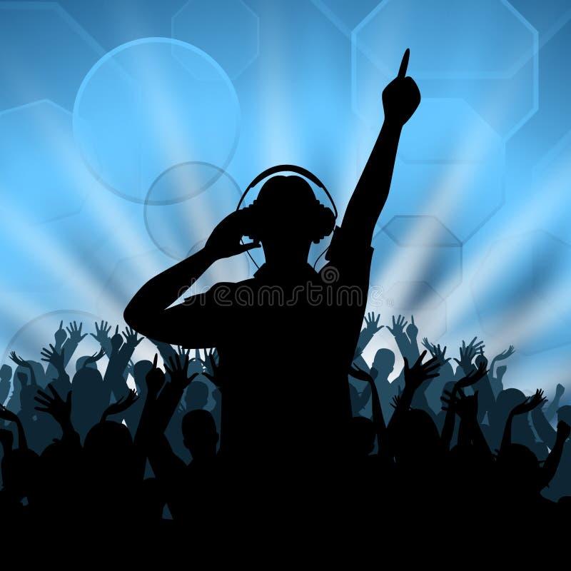 O disco do DJ representa a dança e o disco-jóquei da música ilustração royalty free
