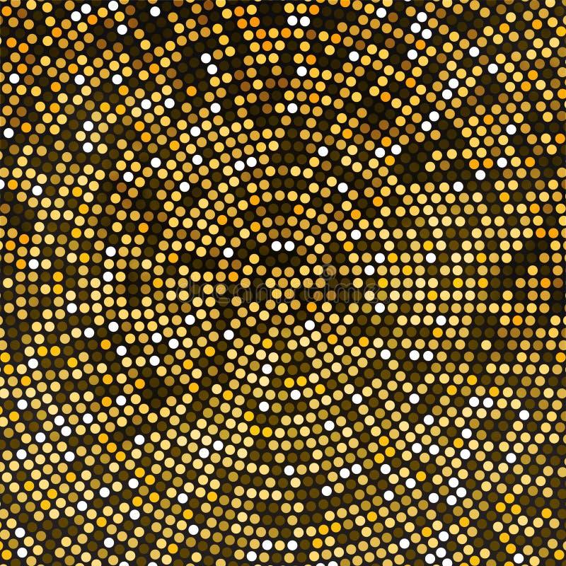 O disco do ouro do vetor ilumina o fundo Conceito dourado redondo do mosaico ilustração do vetor