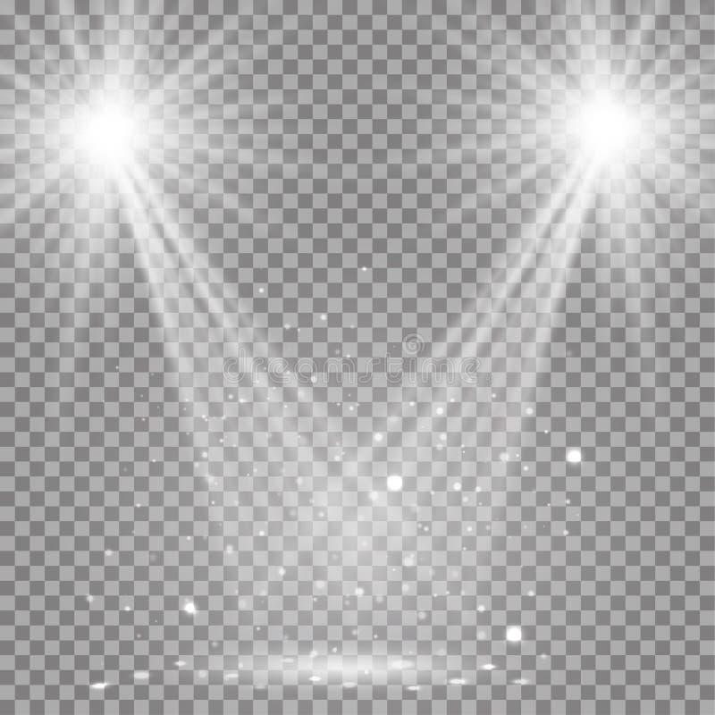 O disco transparente de incandescência do branco ilumina o fundo ilustração do vetor