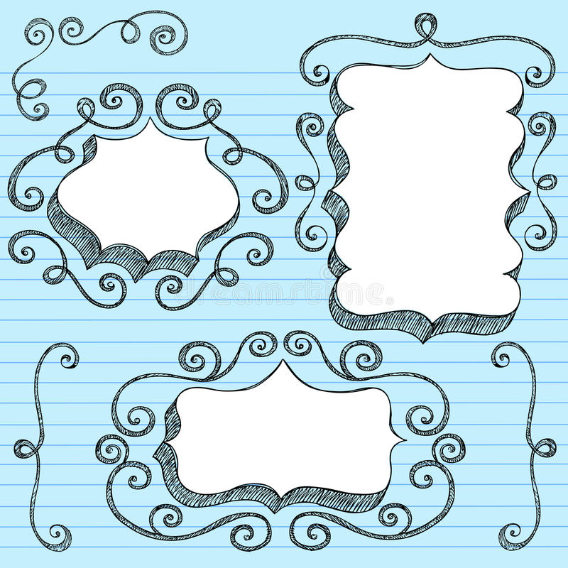 O discurso 3D Hand-Drawn borbulha Doodles esboçado ilustração royalty free