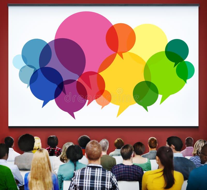 O discurso borbulha conceito da ideia de uma comunicação do símbolo do conceito da mensagem foto de stock